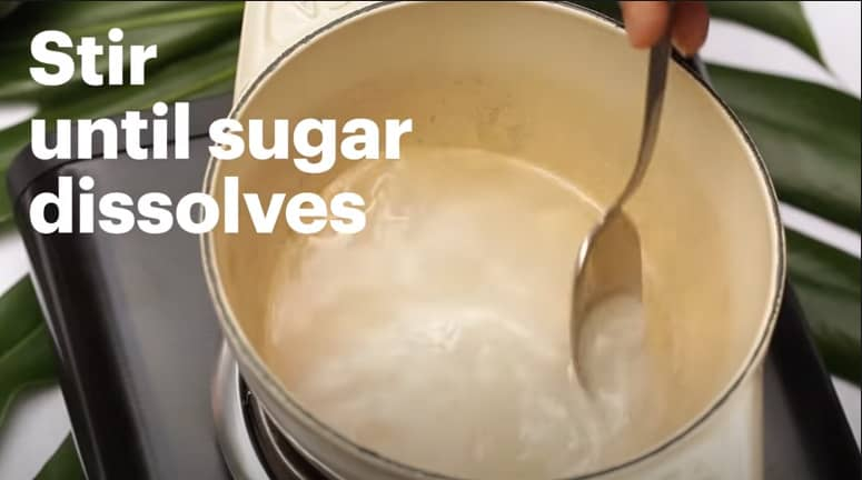 make the sugar and strawberry syrup