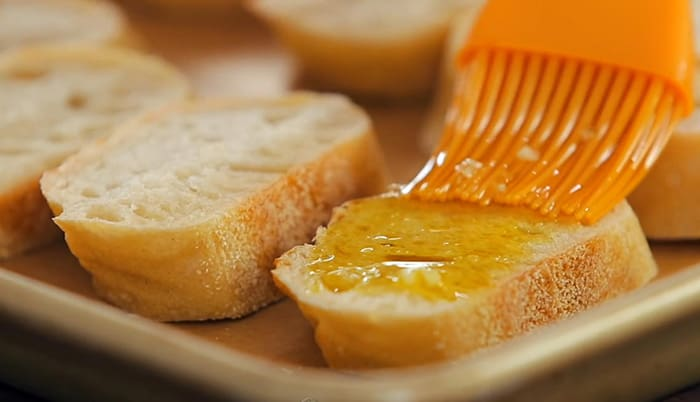 coat the bread with olive oil
