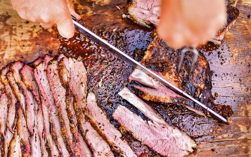 how to cut sliced brisket