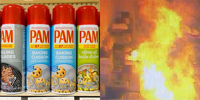 cooking sprays are flammable